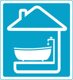 Blue symbol bathroom in house Royalty Free Stock Photo