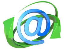 Blue symbol of the e-mail. On white background Royalty Free Stock Photography