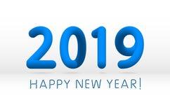 Blue 2019 symbol, happy new year isolated on white background, vector illustration. Art vector illustration