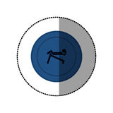 Blue symbol person do exercise gym Royalty Free Stock Photography