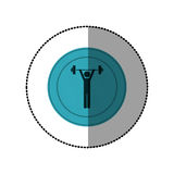 Blue symbol person lifting weights gym Royalty Free Stock Photo