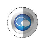Blue symbol round chat bubbles icon. Illustraction design stock illustration