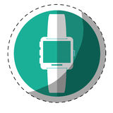 Blue symbol smartwatch button icon. Image,  illustration Stock Photography