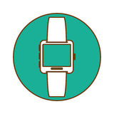 Blue symbol smartwatch button icon. Image,  illustration Stock Image