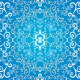 Blue symmetric floral ornament background Royalty Free Stock Photo