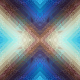 Blue symmetric paisley on geometric background Royalty Free Stock Images
