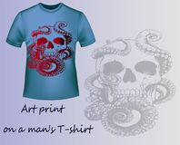 Blue T-shirt with print skull and tentacles Stock Photos