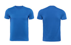 Blue T-shirts front and back used as design template. Blue T-shirts front and back used as design template with clipping path Stock Photos