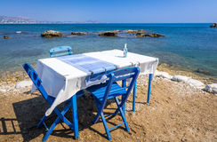 Blue table on a beach coast Royalty Free Stock Images