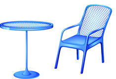 A blue table and chair Royalty Free Stock Images