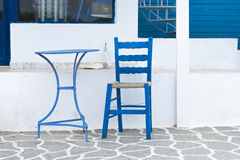 Blue Table and chair in the streets of Karpathos, Greece Stock Image