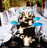 Blue table setting stock images
