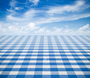 Blue tablecloth backgound with sky Royalty Free Stock Photo