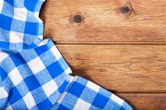 Blue tablecloth on old wooden table Royalty Free Stock Photos
