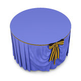 Blue tablecloth on round table isolated on white background. 3d Royalty Free Stock Photo