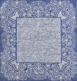 Blue tablecloth texture with the pattern. Blue tablecloth texture with the national pattern Stock Photos