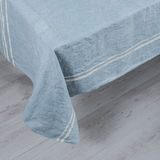Blue Tablecloth with White Stripes Royalty Free Stock Photography