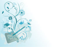 Blue tablet and flowers stock illustration