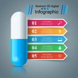 Tablet pill, pharmacology infographic. Blue tablet pill, pharmacology infographic Vector eps 10 royalty free illustration