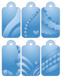 Blue tag collection with heart and dots Stock Images
