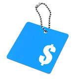 Blue tag with dollar symbol Stock Photo