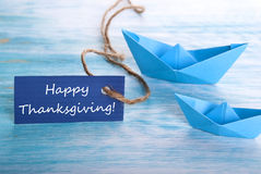 Blue Tag with Happy Thanksgiving Stock Image
