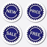 Blue tags. Tags with words new, price, sale and free for advertising, illustration additional royalty free illustration