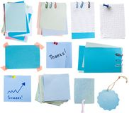Blue tags and notes Royalty Free Stock Photos