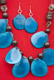 Blue Tagua Nut Jewelry Set Royalty Free Stock Photography