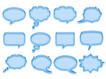 Blue talk bubble. Shiny blue cartoon comic talk bubble isolated on white background Stock Photo