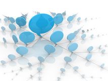 Social Network Blue Talking Bubbles or Balloons. Blue talking bubbles showing the concept of social network communication Royalty Free Stock Photo