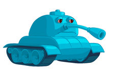 Blue tank with sad eyes and lowered trunk Stock Images