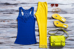 Blue Tank Top And Trousers. Royalty Free Stock Photos