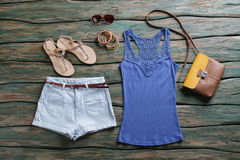 Blue tank top and shorts. Royalty Free Stock Image