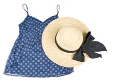Blue Tank Top and Straw Hat Isolated on White Royalty Free Stock Photography