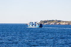 Blue Tanker on Blue Sea Royalty Free Stock Images