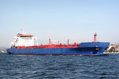 Blue tanker ship Stock Image