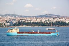 Blue tanker ship Royalty Free Stock Photography