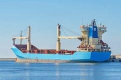 Blue tanker ship. In dock Stock Photos