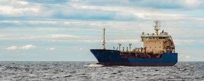 Blue cargo tanker ship. Blue tanker. Toxic substances and petroleum products transfer Stock Photography