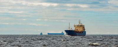 Blue cargo tanker ship. Blue tanker. Toxic substances and petroleum products transfer Stock Images
