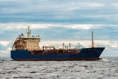 Blue cargo tanker ship. Blue tanker. Toxic substances and petroleum products transfer Stock Image