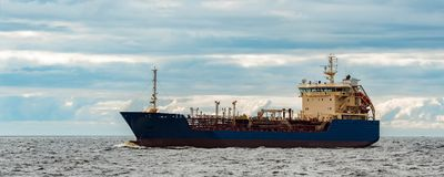 Blue cargo tanker ship. Blue tanker. Toxic substances and petroleum products transfer Royalty Free Stock Photos