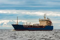 Blue cargo tanker ship. Blue tanker. Toxic substances and petroleum products transfer Royalty Free Stock Image