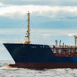Blue cargo tanker ship. Blue tanker. Toxic substances and petroleum products transfer Royalty Free Stock Photo