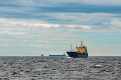 Blue cargo tanker ship. Blue tanker. Toxic substances and petroleum products transfer Stock Photo