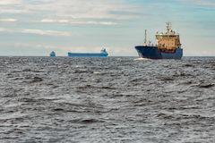 Blue cargo tanker ship. Blue tanker. Toxic substances and petroleum products transfer Royalty Free Stock Photography
