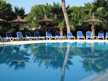 Empty swimming pool in early morning royalty free stock photo