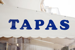 Blue Tapas Sign Stock Images
