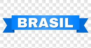 Blue Tape with BRASIL Caption. BRASIL text on a ribbon. Designed with white title and blue stripe. Vector banner with BRASIL tag on a transparent background vector illustration